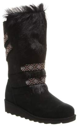 BearPaw Claudia Beaded Strap Genuine Goat Fur Suede Genuine Sheepskin Footbed Boot
