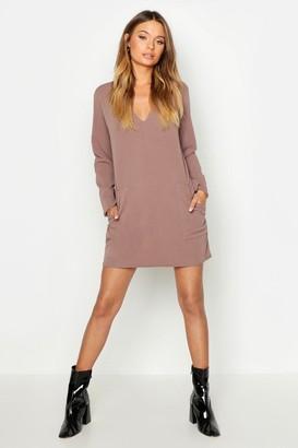 boohoo Pocket Detail V-Neck Mini Dress