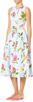 Carolina Herrera Sleeveless Floral-Print Cotton Faille Fit-and-Flare Midi Dress
