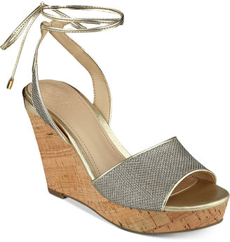 GUESS Women's Edinna Wedge Sandals $79 thestylecure.com