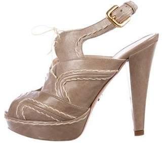 Prada Cutout Leather Sandals