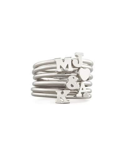Sarah Chloe Silver Stackable Initial Ring