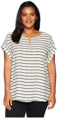 Calvin Klein Plus Plus Size Printed Short Sleeve Top w/ Bar Hardware Women's Sleeveless