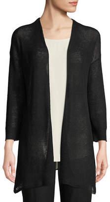 Eileen Fisher Organic Linen/Tencel Open Cardigan, Plus Size