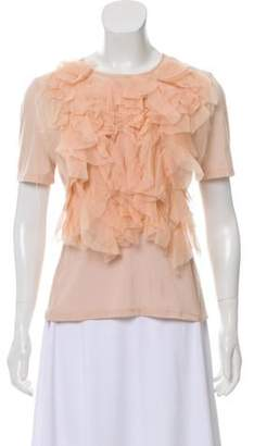 Nina Ricci Ruffle-Trimmed Short Sleeve Blouse Ruffle-Trimmed Short Sleeve Blouse