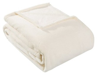 HS HYSEAS Coral Fleece Queen Size Plush Throw Blanket, Ivory