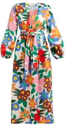 Mara Hoffman Luna Floral Print V Neck Maxi Dress - Womens - White Print