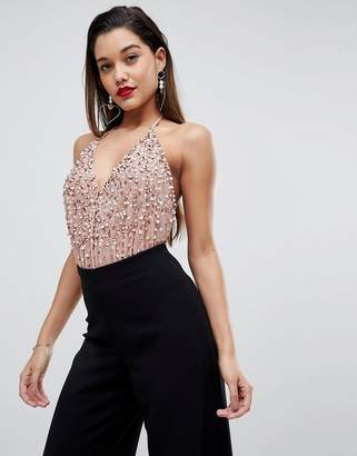 1ab3aaec146ff3 Asos Design Cami Body In Sequin Embellishment with Back Strap
