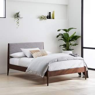 west elm Modern Show Wood Bed - Pumice (Yarn-Dyed Linen Weave)