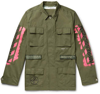 Off-White Off White Logo-Print Cotton-Blend Field Jacket