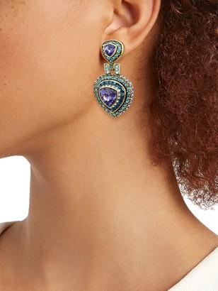 Heidi Daus Trillion Crystal & Rhinestone Drop Earrings