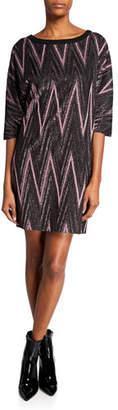 M Missoni Metallic Zigzag Elbow-Sleeve Mini Shift Dress