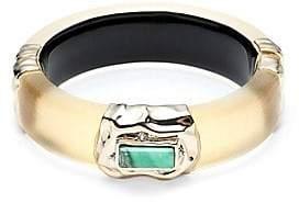 Alexis Bittar Swarovski Crystal& Multi-Stone Studded Crumpled Goldtone Hinge Bracelet