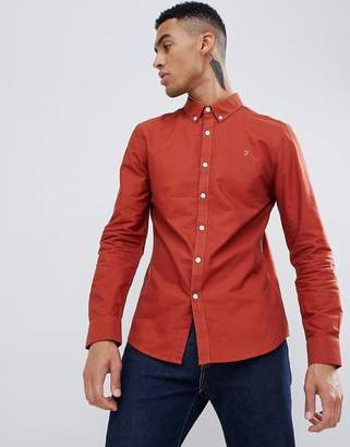 Farah Brewer slim fit oxford shirt in red