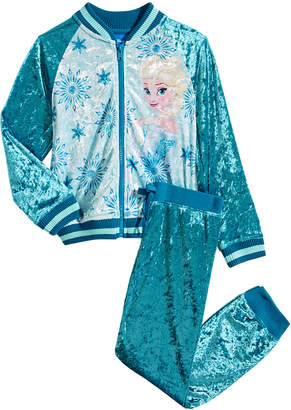 Disney Little Girls 2-Pc. Frozen Crushed-Velvet Jacket & Pants Set