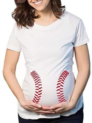 Anxinke Pregnant Women Blouse, Fashion Crewneck Summer Short Sleeve Printed Maternity Tee Shirt Top (S, )