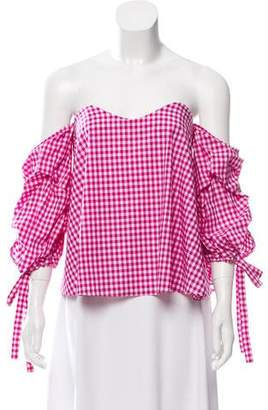 Caroline Constas Off-The-Shoulder Gingham Top
