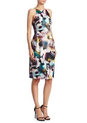 Monique Lhuillier Women's Keyhole Back Floral-Print Dress