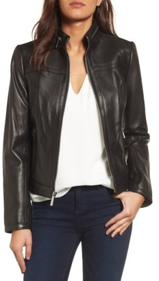 Women's Michael Michael Kors Leather Racer Jacket $388 thestylecure.com