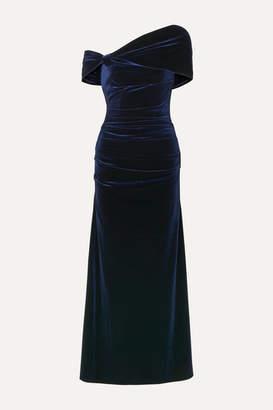Talbot Runhof One-shoulder Open-back Stretch-velvet Gown - Midnight blue