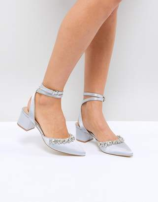 Be Mine Bridal Saphira Grey Satin Embellished Mid Heeled Shoes