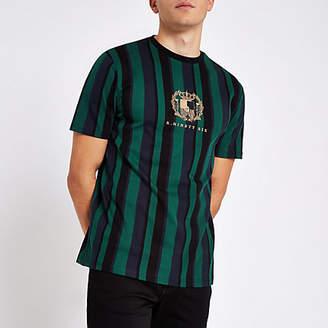 River Island R96 green stripe slim fit T-shirt