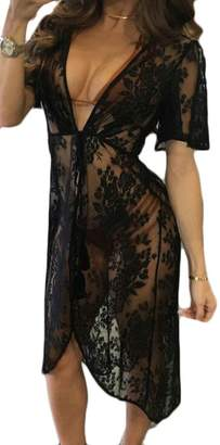 KLJR-Women Lace Lace up Dresses Beach Bikini Swimsuit Cover UPS US M
