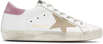 Golden Goose White & Pink Superstar Sneakers $405 thestylecure.com