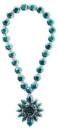 Prada Rose Pendant Necklace - Womens - Blue