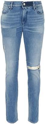 RtA '1' reflective logo cross print ripped skinny jeans