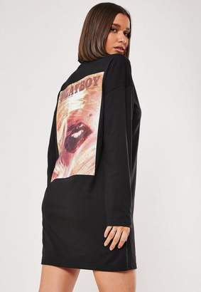 Missguided Playboy X Black Lips Magazine T Shirt Dress