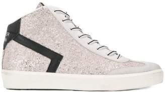 Leather Crown glitter hi-top sneakers