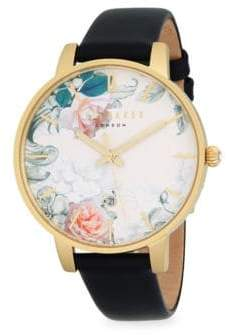 Ted Baker Stainless Steel and Leather Strap Watch