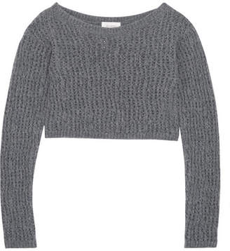 Cropped Open-knit Wool Sweater - Gray