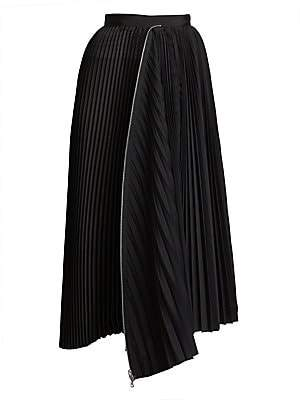 Sacai Women's Asymmetric Pleated Shirting Skirt