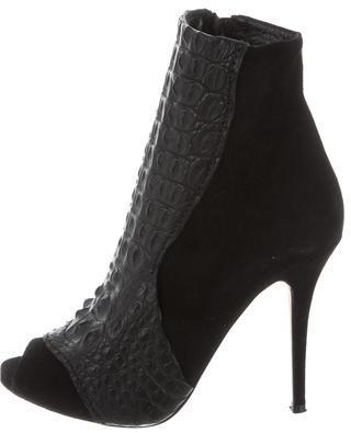 Alexa WagnerAlexa Wagner Rebecca Crocodile-Trimmed Ankle Boots