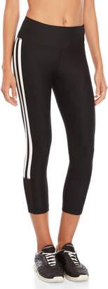 90 Degree By Reflex Black Silicone Stripe Capri Leggings