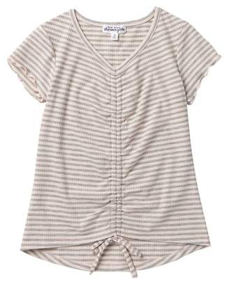Ten Sixty Sherman Rouched Front Stripe Tee (Big Girls)