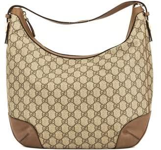 Gucci Brown Leather GG Monogram Canvas Hobo Bag (4057005)
