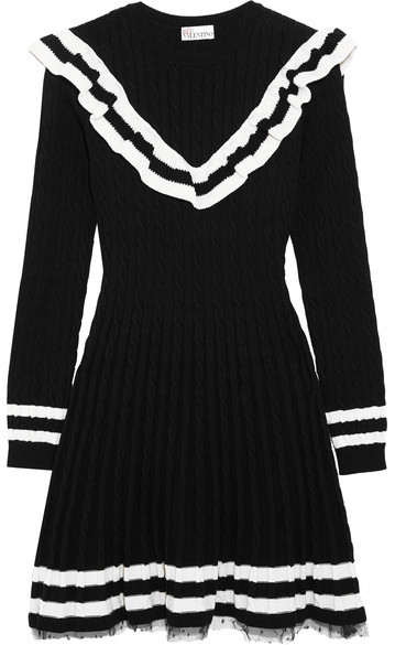 RED Valentino REDValentino - Point D'esprit-trimmed Ruffled Cable-knit Cotton Mini Dress - Black