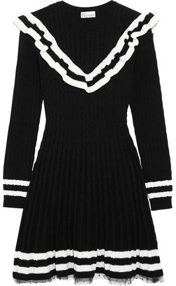 REDValentino - Point D'esprit-trimmed Ruffled Cable-knit Cotton Mini Dress - Black $795 thestylecure.com