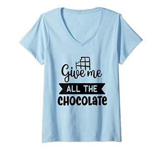 Womens Chocoholic Diet Cupcakes Sweet Tooth Baker Candy Ladies V-Neck T-Shirt