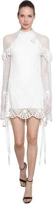 Self-Portrait Ruffled Crochet Dress With Side Ties