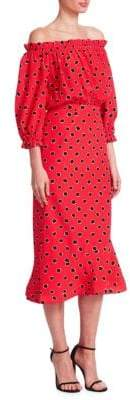 Saloni Grace Printed Off-The-Shoulder Midi Dress