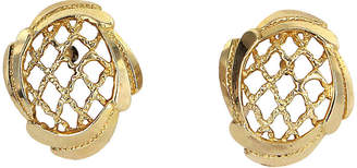 One Kings Lane Vintage 14K Gold Basket Weave Earrings - Precious & Rare Pieces