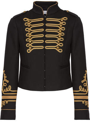 REDValentino - Cropped Embroidered Twill Jacket - Black $795 thestylecure.com