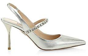 Miu Miu Women's Embellished Slingback Pumps