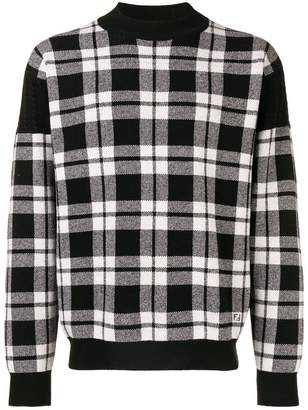 Fendi check long-sleeve sweater