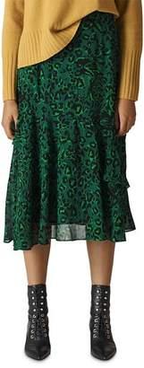 Whistles Animal Print Midi Skirt