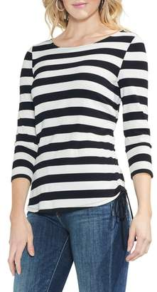 Vince Camuto Stripe Ribbed Side Cinch Tee
